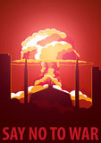 Nuclear Explosion in the city. Pakistan Say no to war. Cartoon Retro poster. Vector illustration. Royalty Free Stock Photo