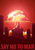 Nuclear Explosion in the city. Russia Say no to war. Cartoon Retro poster. Vector illustration. Royalty Free Stock Photography