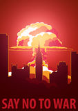 Nuclear Explosion in the city. UK Say no to war. Cartoon Retro poster. Vector illustration. Stock Photo