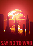 Nuclear Explosion in the city. USA Say no to war. Cartoon Retro poster. Vector illustration. Stock Photography