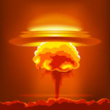 Nuclear explosion with dust. Orange and red illustration on a orange background Royalty Free Stock Photos