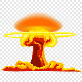 Nuclear explosion with dust. Orange and red illustration on transparent background Royalty Free Stock Photography
