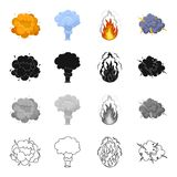 Nuclear explosion, flash, flame. Various types of explosions set collection icons in cartoon black monochrome outline Stock Image