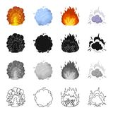 Nuclear explosion, flash, flame. Various types of explosions set collection icons in cartoon black monochrome outline Royalty Free Stock Photography