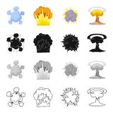 Nuclear explosion, flash, flame. Various types of explosions set collection icons in cartoon black monochrome outline Royalty Free Stock Image
