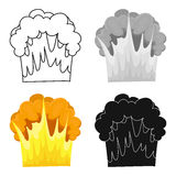 Nuclear explosion icon in cartoon style isolated on white background. Explosions symbol stock vector illustration. Nuclear explosion icon in cartoon design Royalty Free Stock Photo