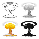 Nuclear explosion icon in cartoon style isolated on white background. Explosions symbol stock vector illustration. Nuclear explosion icon in cartoon design Stock Image