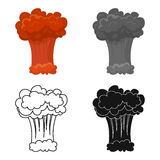 Nuclear explosion icon in cartoon style isolated on white background. Explosions symbol stock vector illustration. Nuclear explosion icon in cartoon design Stock Images