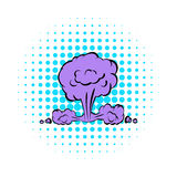 Nuclear explosion icon, comics style Royalty Free Stock Photo