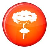 Nuclear explosion icon, flat style. Nuclear explosion icon in red circle isolated on white background vector illustration Stock Photography