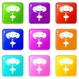 Nuclear explosion icons 9 set Stock Photo