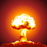Nuclear explosion illustration. Mushroom cloud. Color picture Royalty Free Stock Images
