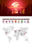 Nuclear Explosion. Infographic of countries possessing nuclear weapons. Vector illustration. Royalty Free Stock Photo
