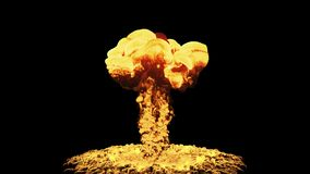 Nuclear Explosion Isolated On Black Background With Alpha. Fire and fury, big nuclear blast with bright orange mushroom cloud exploding in slow motion vector illustration