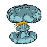 Nuclear explosion isolated on white background. Comic book cartoon pop art retro illustration Stock Image