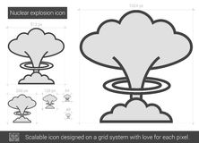 Nuclear explosion line icon. Royalty Free Stock Photo