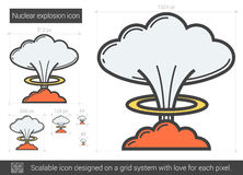 Nuclear explosion line icon. Royalty Free Stock Photos