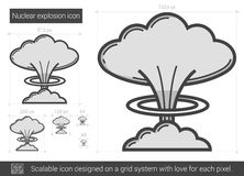 Nuclear explosion line icon. Stock Photo