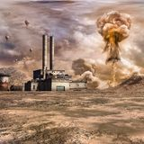 Nuclear explosion near the factory Stock Images
