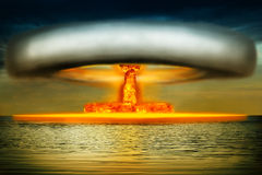 Nuclear explosion in the ocean Royalty Free Stock Photos