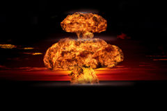 Nuclear explosion in an outdoor setting. Symbol of environmental protection and the dangers of nuclear energy. Nuclear explosion in an outdoor setting. Symbol royalty free stock photography