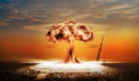 Nuclear explosion over a large city Stock Photo