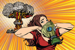 Nuclear explosion radiation hazard gas mask girl Stock Photos