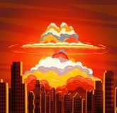 Nuclear explosion, radioactive cloud on city. Rising radioactive heated bright yellow mushroom cloud on big city, Nuclear explosion, dangers of nuclear energy Stock Images