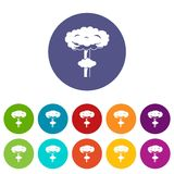 Nuclear explosion set icons Stock Photography