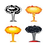Nuclear explosion set. War. large red explosive chemical mushroo. M Stock Images