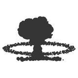Nuclear explosion sign illustration. Vector. Black icon on white background. Nuclear explosion sign illustration. Vector. Black icon on white background Stock Image