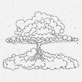 Nuclear explosion sketch cartoon vector illustration Stock Photo