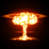 Nuclear explosion. In vector on black background Royalty Free Stock Images