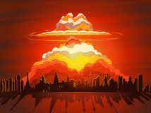 Nuclear explosion, atom bomb falling on Earth. Nuclear explosion, vector illustration. Nuclear war, atom bomb falling on Earth Stock Images