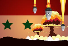 Nuclear explosion war fiery mushroom in Syria. Paper art style Stock Images