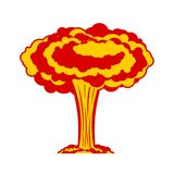 Nuclear explosion . War. large red explosive chemical mu. Shroom Stock Images