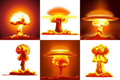 Nuclear explosions set Stock Photography