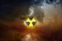 Nuclear fallout, hazardous accident with radioactive isotopes in. Dramatic scientific background - nuclear fallout, hazardous accident with radioactive isotopes Stock Photos