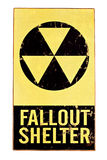 Nuclear fallout shelter sign isolated on white. Atomic nuclear fallout shelter sign with radiation symbol isolated on white Stock Photos