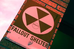 Nuclear Fallout Shelter Sign. Old fallout shelter sign in downtown Albuquerque from cold war era Royalty Free Stock Images