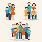 Nuclear Family, Family with Special Needs Child and Extended Family. Families of Different Types Stock Image