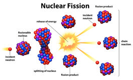 Nuclear fission. Illustration of the nuclear fission on a white background Stock Photos