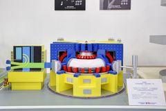 Nuclear fusion plant Tokamak T-15. KUBINKA, MOSCOW OBLAST, RUSSIA - AUG 21, 2018: The layout nuclear fusion plant Tokamak T-15 of the Kurchatov Institute at the royalty free stock images