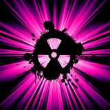 Nuclear hazard background. Background with exploding rays nuclear hazard symbol Stock Photography