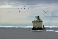 Nuclear icebreaker  in the ice Royalty Free Stock Image