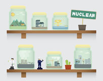 Nuclear in jar. On the shelve Royalty Free Stock Images
