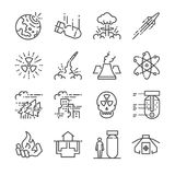 Nuclear line icon set. Included the icons as nuclear bomb, missile, radioactive, shelter, bomb effect, size and more. stock illustration