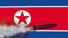 Nuclear Missile on the Background Flag of North Korea stock video footage