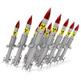 Nuclear missiles. 3D nuclear missiles - great for topics such as war, danger, military, radioactivity, army, mass destruction etc Stock Image