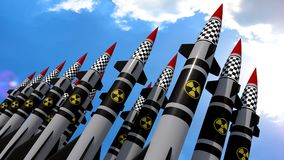 Nuclear missiles. 3D render Stock Photos